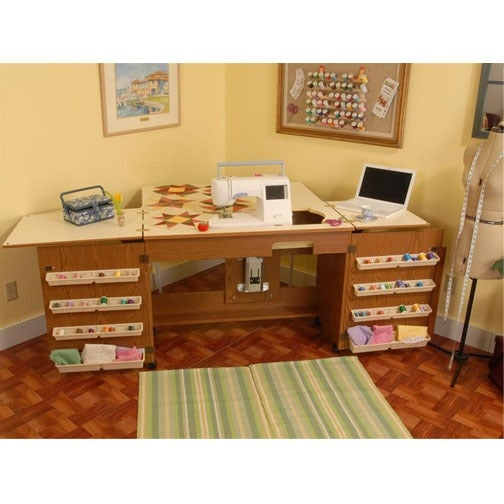 Arrow Bertha Oak Embroidery Machine Airlift Credenza W/ Quilting Ext'n