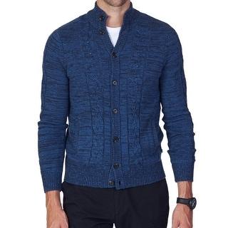 Nautica NEW Blue Indigo Mens Size Large L Cardigan Cable-Knit Sweater