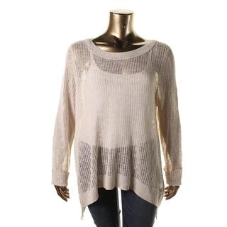 Eileen Fisher Womens Plus Linen Blend Side Slits Pullover Sweater
