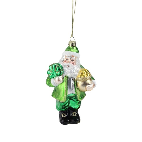 "5.5"" Lucky Irish Leprechaun Santa Glass Christmas Ornament - green"