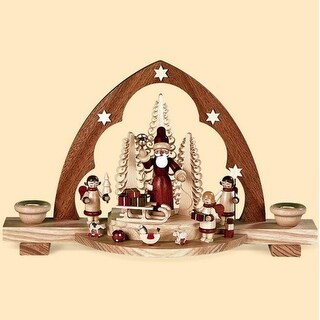 """12"""" Muller Wooden Christmas Santa with Gifts Candle Arch Table Top Candle Holder"""