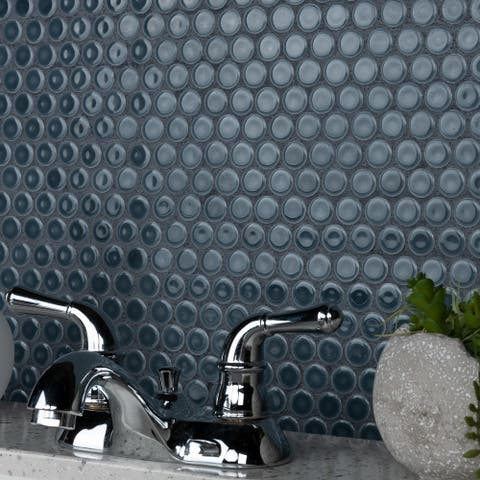 "SomerTile Hudson Penny Round Storm Grey 12"" x 12.63"" Porcelain Mosaic Tile"