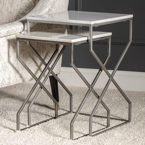 """23"""" & 20""""H White Marble and Matte Silver Nested Tables - 23""""H x 16""""Sq"""