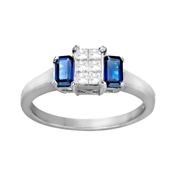 1/2 ct Diamond and 1 3/8 ct Sapphire Ring in 14K White Gold - Size 7