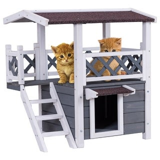 Gymax 2-Story Outdoor Weatherproof Wooden Cat House Condo Shelter with Escaping Door