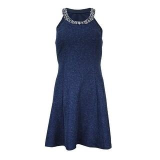 Betsy & Adam Women's Beaded Glittered Halter Dress