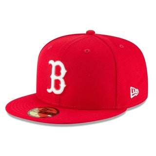 New Era Mens Mlb Basic Boston Red Sox 59Fifty Fitted Cap, Scarlet