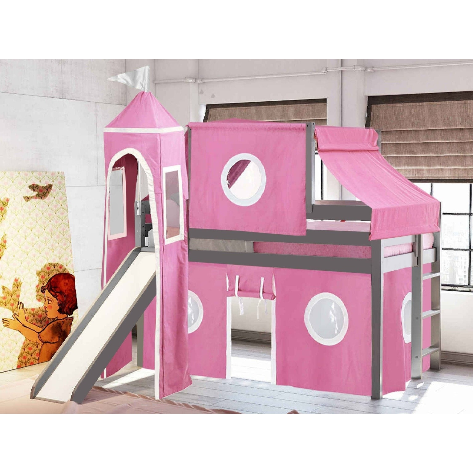 Jackpot Princess Low Loft Bed With Slide Pink White Tent And Tower Loft Bed Twin Gray Overstock 25490879