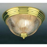 Volume Lighting V7211 2-Light Flush Mount Ceiling Fixture with Clear Ribbed Glass Shade - N/A