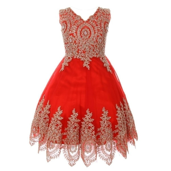 fbd15371b2 Shop Girls Red Gold Coiled Lace Mesh Elegant Junior Bridesmaid Dress ...