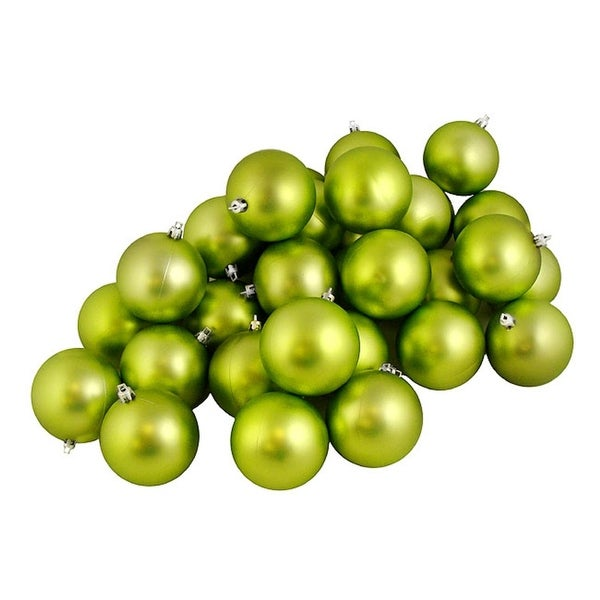 "12ct Matte Green Kiwi Shatterproof Christmas Ball Ornaments 4"" (100mm)"
