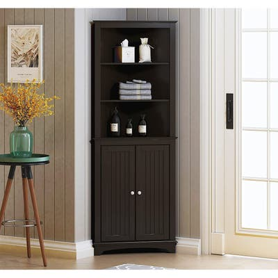 Spirich -Bathroom Storage,Tall Corner Cabinet with 2 Doors and 3 Tier Shelves,White
