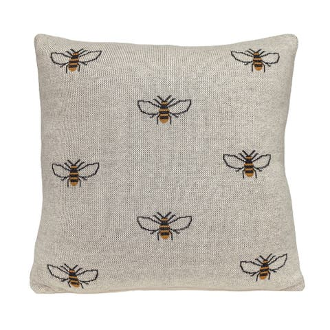 Parkland Collection Buzzing Bee Transitional Beige Throw Pillow