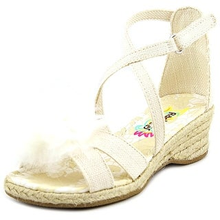 Rachel Shoes Charlotte Youth Open Toe Canvas Wedge Sandal