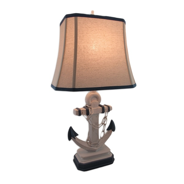 Nautical Weathered Blue And White Anchor Lamp With Linen Shade