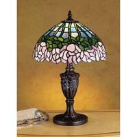 Meyda Tiffany 30343 Stained Glass / Tiffany Accent Table Lamp from the Cabbage Rose Collection - tiffany glass - n/a