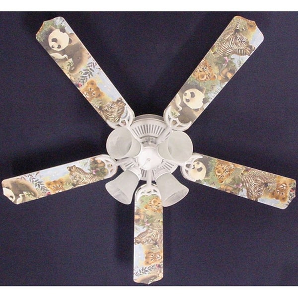 Children's Baby Safari Animals 52in Ceiling Fan Light Kit - Multi