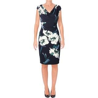 Lauren Ralph Lauren Womens Valli Belvedere Wear to Work Dress Floral Cowl Neck