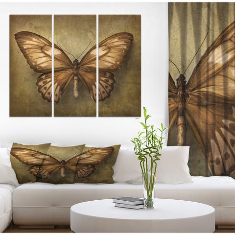 Designart 'Vintage Butterfly' Vintage Print on Wrapped Canvas set