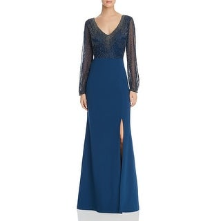 Link to Adrianna Papell Womens Formal Dress Beaded Crepe - Deep Blue - 0 Similar Items in Dresses