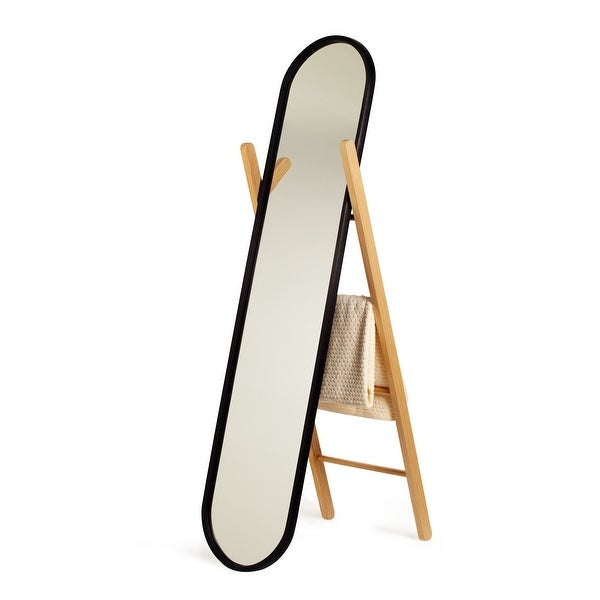 Hub Floor Length Mirror with Storage Rack - Black/Natural. Opens flyout.