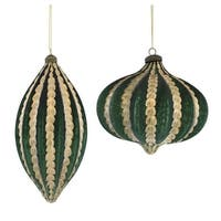 Club Pack of 16 Green and Gold Colored Christmas Tree Ornaments with Hanger 10.5""