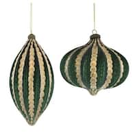 Club Pack of 24 Green and Gold Colored Christmas Tree Hanging Ornaments 6.75""
