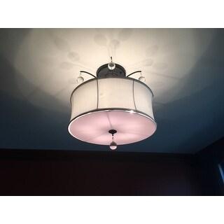 Indoor 5-light Antique Bronze White Shade Flush Mount Chandelier