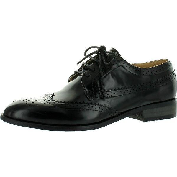 Miim Fiona-02 Women's Classic Wingtip Cut Out Oxford Flats