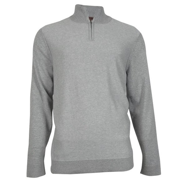Alfani Men's Slim Fit Knit Half-Zip Pullover - zinc heather - XL