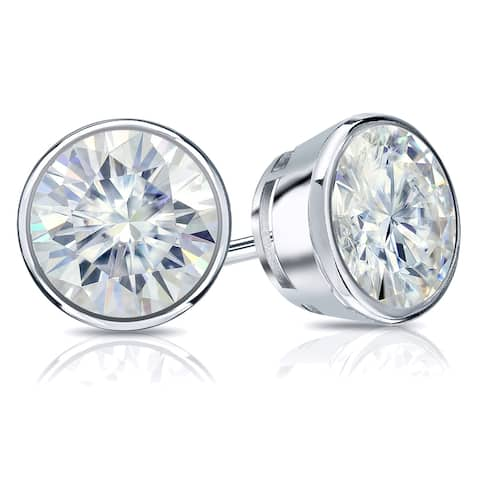 Auriya 14k Gold 2ctw Bezel-set Round Moissanite Stud Earrings - 6.5 mm