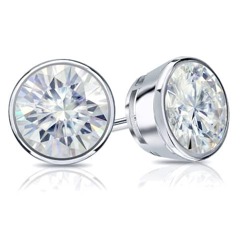 Auriya Platinum 1 carat TW Round Bezel-set Moissanite Stud Earrings - 5 mm, Push-Backs