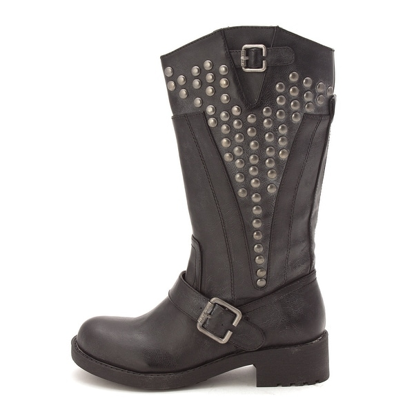 G by Guess Womens Essteem Round Toe Mid-Calf Motorcycle Boots - 5.5