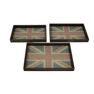 Distressed British Union Jack 3 Piece Faux Leather Decorative Tray Set