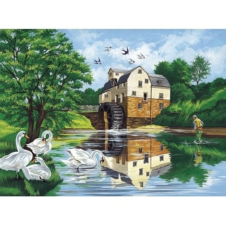 """Paint By Number Kit 12""""X16""""-Watermill"""