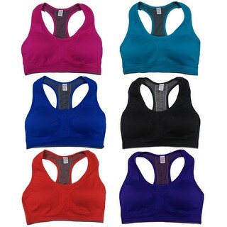 Women's 6 Pack Solid Color Reversible Padded Sports Bras