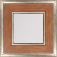 """27"""" x 27"""" Wooden Framed Beveled Rectangular Wall Mirror - Brown"""