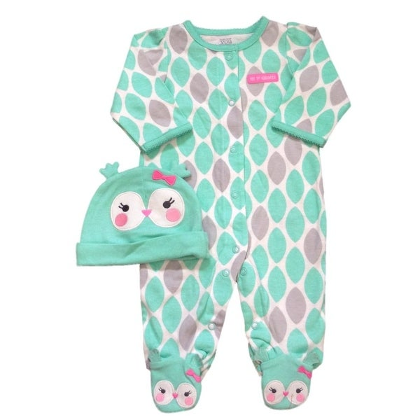 Carter's Just One You Girls Sleep & Play & Hat Set Aqua Owl 6M - 6 months