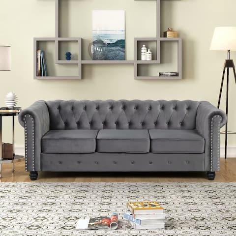 Morden Fort Tufted Upholstered Chesterfield Couches for Living Room, Living Room Furniture Sets, Sofa, Fabric, Velvet