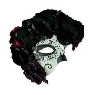 La Adriana Black and White Day of the Dead Sugar Skull Adult Phantom Mask