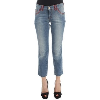 Galliano Galliano Blue Wash Cotton Blend Slim Fit Cropped Jeans
