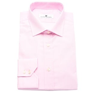 Pierre Balmain Men Slim Fit Cotton Dress Shirt Solid Pink