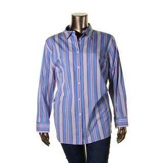 Lauren Ralph Lauren Womens Plus Button-Down Top Striped Long Sleeves