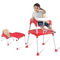 Costway 3 in 1 Baby High Chair Convertible Table Seat Booster Toddler Feeding Highchair - Red