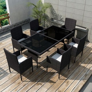 vidaXL Outdoor Dining Set 13 Pieces Rattan Wicker Black Chair Seat