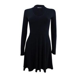 Planet Gold Juniors' Cutout Fit & Flare Dress (M, Black Beauty) - black beauty - M