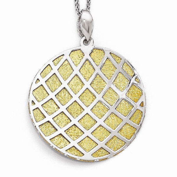 Italian Sterling Silver Gold-plated Polished Scratch-Finish Pendant. Pendant ONLY, Chain sold separately.