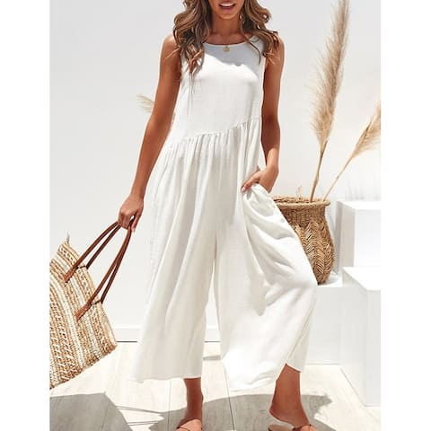 Showy White, Yellow Ruched Plain Sleeveless Jumpsuits Pocket Loose Fit