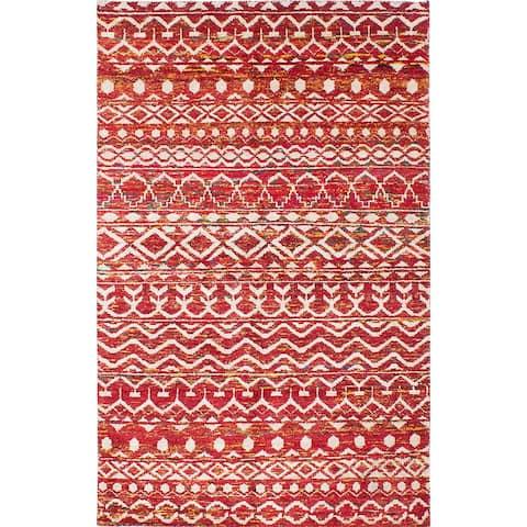 """ECARPETGALLERY Hand-knotted Sari Silk Burgundy Silk Rug - 5'5"""" x 8'8"""""""