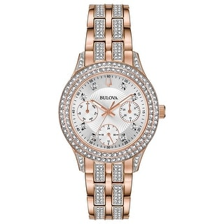 Link to Bulova Women's 98N113 Multifunction Rosegold Crystal Accent Bracelet Watch - Two-tone Similar Items in Women's Watches